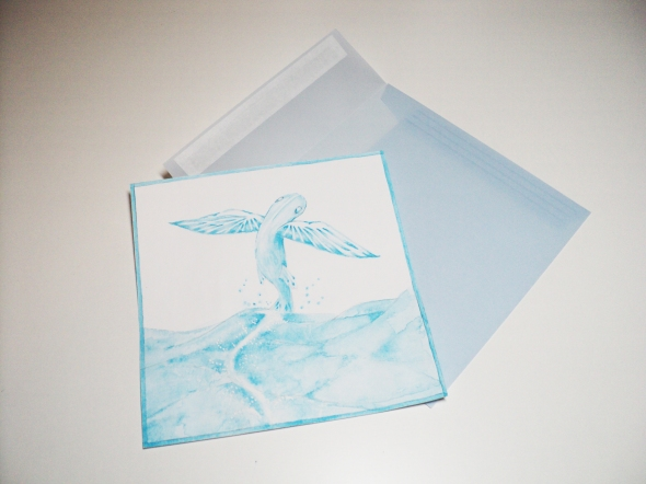 """Flying Fish"" working drawing can be seen through the lovely envelope!"