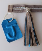 Tassel as zip pull and personalised keyring for fringed bag